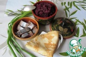 Рецепт Блинчики с сельдью и свекольным песто