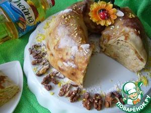 Рецепт Блинное кольцо с ореховой начинкой