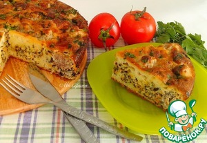 Рецепт Заливной пирог с диким рисом и тефтелями