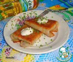 Рецепт Конвертики из блинов с печенью и сыром