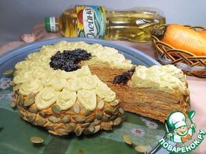 Рецепт Блинный торт с тушеной морковью и сыром
