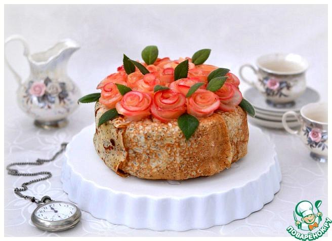 Кожаный блинный торт мусс с фруктами