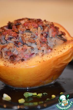 Рецепт Запеченная айва с мясом и рисом