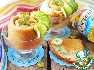 Рецепт Блинчики с начинкой из мяса и соленых огурчиков