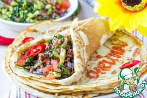 Рецепт Блинчики с начинкой по-мексикански