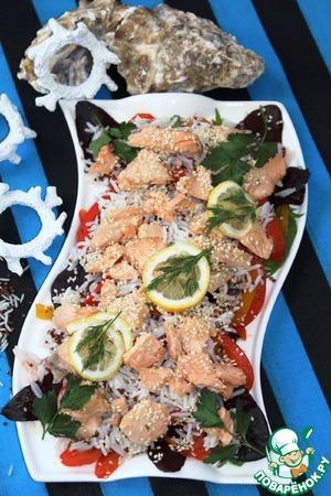 Рецепт Рисовый салат с рыбой и сладким перцем