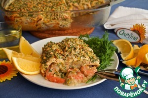 Рецепт Запеканка из блинов с морепродуктами