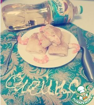 """Рецепт Блины с креветками, сыром и чесноком """"Нежность"""""""