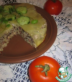 Рецепт Пирог картофельный с рисом и рыбой