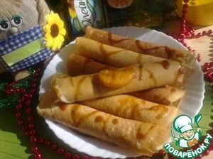 Рецепт Блинчики с карамелизированными мандаринами и тимьяном