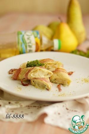 Рецепт Блины с грушей, беконом и сыром