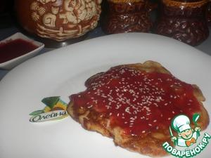 Рецепт Блины с припеком под пряным брусничным соусом