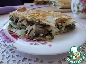 Рецепт Слоеный пирог с рыбой, грибами и рисом
