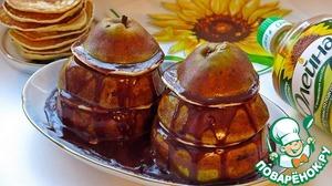 Рецепт Башенки из груш и оладий под шоколадным соусом