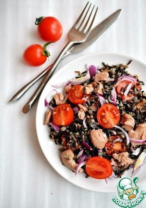 Рецепт Салат из дикого риса с печенью трески