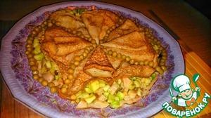 """Рецепт Необыкновенно вкусные блины с начинкой """"Калейдоскоп""""-кальмары, авокадо, яблоко и пикантные кедровые орешки"""