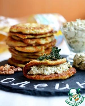 Рецепт Блины из кабачков с острым ореховым соусом