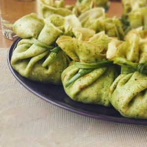 Рецепт Шпинатные блинчики с грибамии и стручковой фасолью