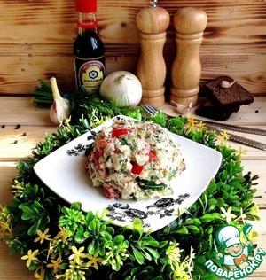 Рецепт Салат со свежими овощами и консервированной рыбой