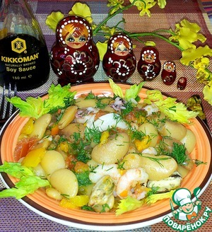 Рецепт Белая фасоль с овощами и морепродуктами