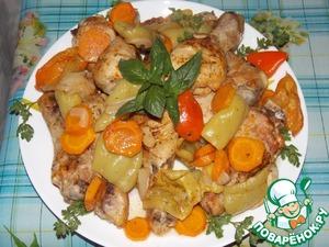 Рецепт Курица с овощами, запечённая в пакете