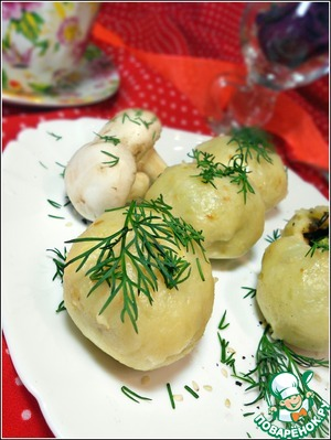 Рецепт Постные картофельные шарики с диким рисом, грибами и горошком