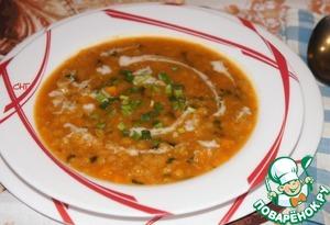 Рецепт Вегетарианский суп из тыквы и чечевицы с кокосовым молоком