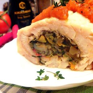 Рецепт Рулет из трески с креветками и овощами