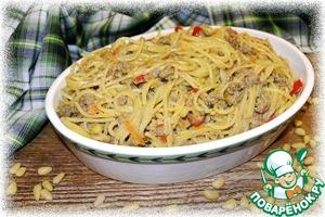 Рецепт Спагетти по-флотски с кедровыми орешками