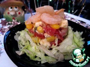 Рецепт Салат с креветками и адыгейским сыром