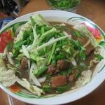 Китайский суп с мясом и рисовой лапшой