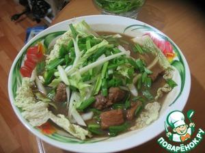 Рецепт Китайский суп с мясом и рисовой лапшой