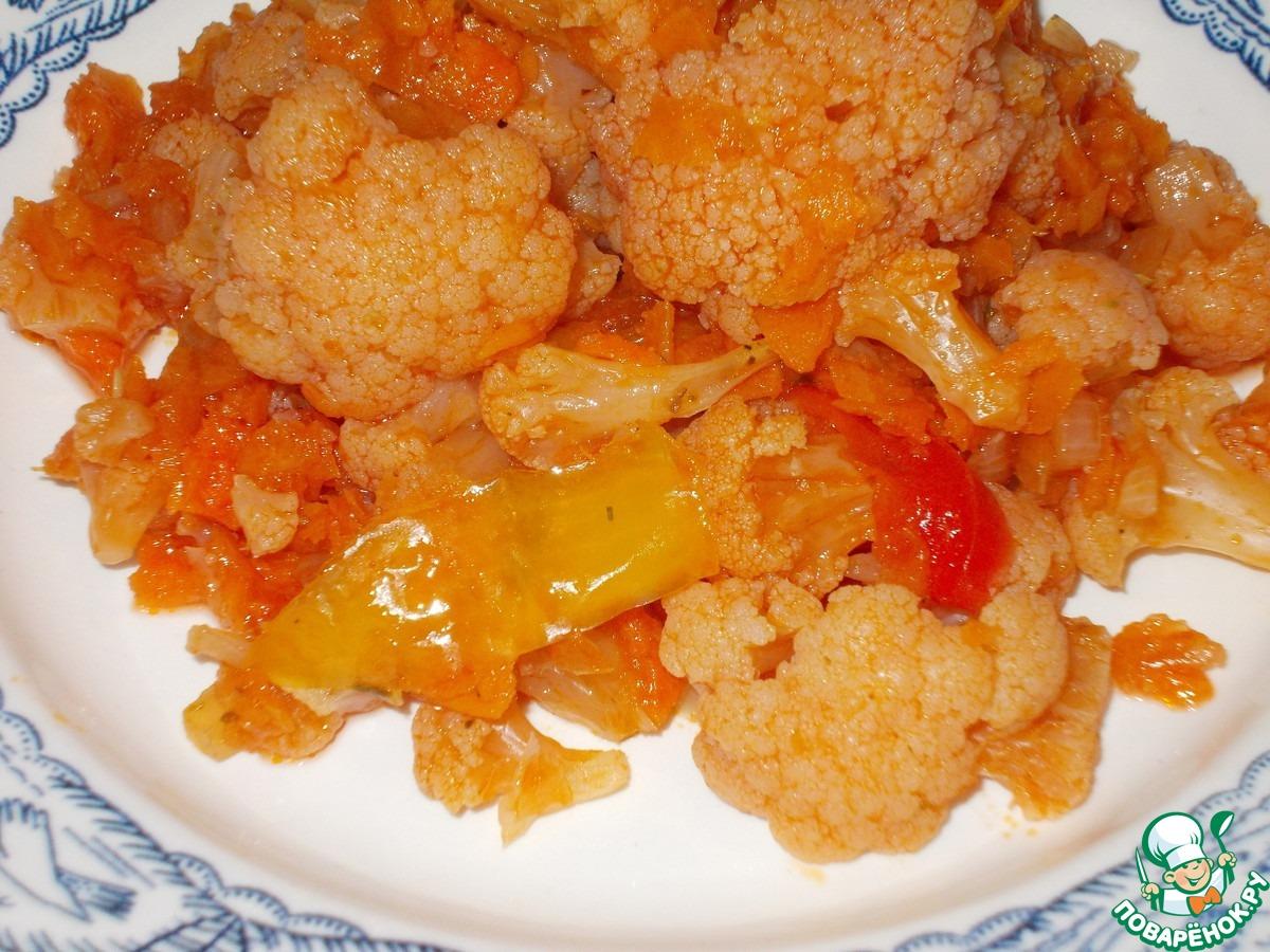 Рецепт цветной капусты тушеной в сметане