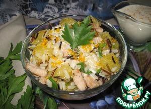 Рецепт Салат с индейкой, рисом и апельсином