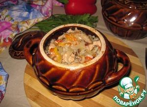 Рецепт Горшочки с индейкой, рисом, капустой и грибами