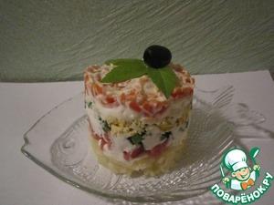 Рецепт Слоёный салат с копченой горбушей
