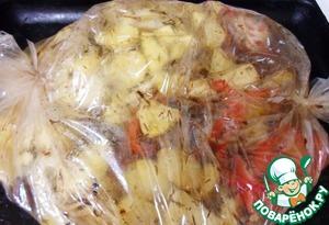 Рецепт Картофель, запеченный с мясом в рукаве