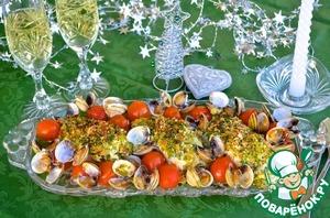 """Как приготовить простой рецепт приготовления с фото Треска под хрустящей """"шубой"""" с моллюсками"""