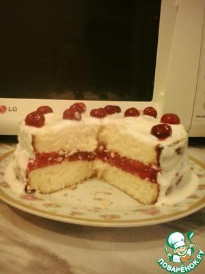 Рецепт Бисквитный тортик с вишневым желе
