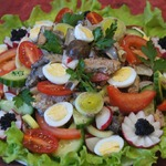 Валлийский салат с грибами