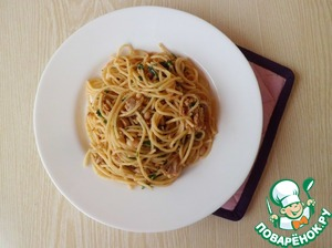 Рецепт Спагетти с печенью трески