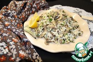 Рецепт Теплый салат из риса с грибами