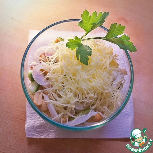 кальмары огурец ветчина салат рецепт