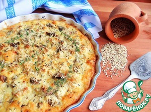 Рецепт Пирог с цветной капустой, шампиньонами и козьим сыром на основе из киноа