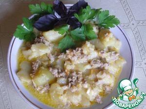 Рецепт Картофель с фаршем и плавленым сырком