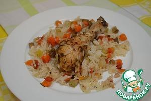 Рецепт Запеченный рис с куриными ножками и овощами