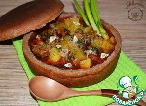 Рецепт Бограч в хлебной тарелке