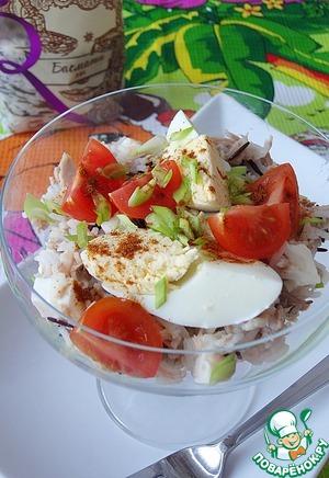 Рецепт Теплый салат с тунцом и брынзой