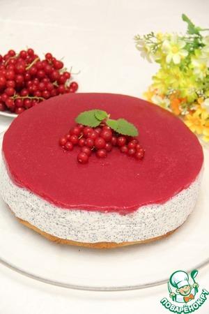 Рецепт Охлажденный маково-творожный торт с малиной и смородиной