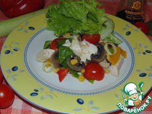 Рецепт Салат из курицы с шампиньонами и овощами